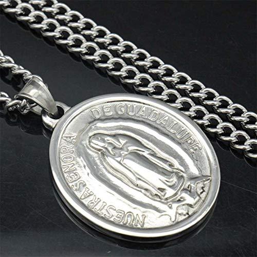 """Inveroo Acero Inoxidable Plata Tono Virgen María Encanto Milagroso Medalla Oval Colgante 24"""" Cuban Curb Cadena Religiosa Collar"""