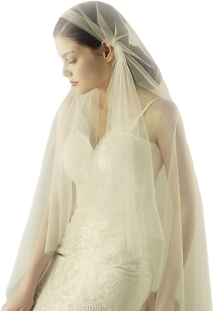1.6M Romantic Wrap Flowy Tulle Wedding Veil with Metal Comb Ivory White