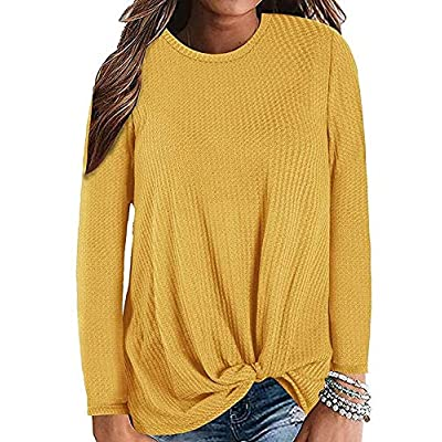 Amazon - Save 15%: Womens Casual Top Long Sleeve Cute T Shirts Twist Knot Waffle Knit Shirts Ta…