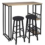 WOLTU 1 X Table de Bar avec 2 tablettes + 2 X Tabourets de Bar Structure en métal Plateau en MDF,Chêne Clair BT25hei+BH130sz-2