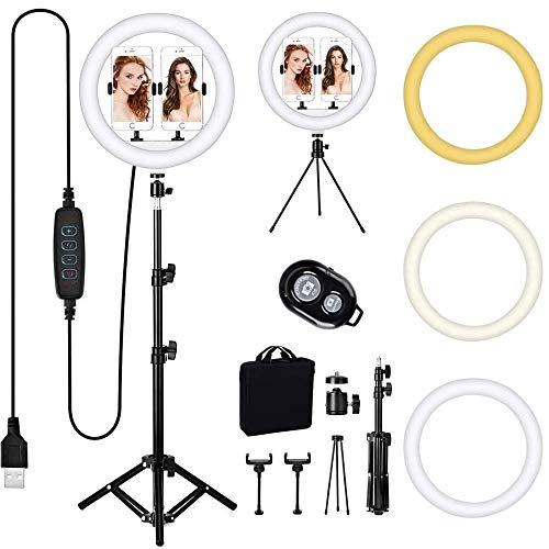 """Queta Ringleuchte mit Stativ, 12\""""/ 30cm LED Ringlicht mit 3 Beleuchtungsmodi und 10 Helligkeitsstufen, Desktop-Ständer, Bluetooth-Empfänger für YouTube TikTok Self-Porträt der Videoaufnahme"""