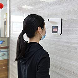 Wall-MountedInfrared Thermometer Non-Contact Digital Thermometer Baby Laser Thermometer Temperature with Fever Alarm and Memory Function LCD Display Hand Free Ideal for Indoor and Outdoor