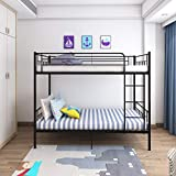 Panana 4 Colors Available Twins Single Bunk Bed 2pcs 3FT Metal Bed for Twins Adults Bedroom (Black)