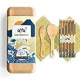 Kit para Hacer Sushi, Original AYA Eco Sushi Kit – Todo Natural Ecológico – Bambú Biodegradable – 2 Esterillas de Sushi – 5 Pares de Palillos – 1 Espátula – 1 Cuchara