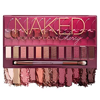 Urban Decay Naked Cherry Eyeshadow Palette 12 Cherry Neutral Shades - Ultra-Blendable Rich Colors with Velvety Texture - Set Includes Mirror & Double-Ended Makeup Brush