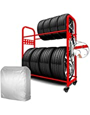 MEICHEPRO タイヤラック タイヤスタンド 2段式タイヤラック 8本タイヤ収納 耐荷重200kg