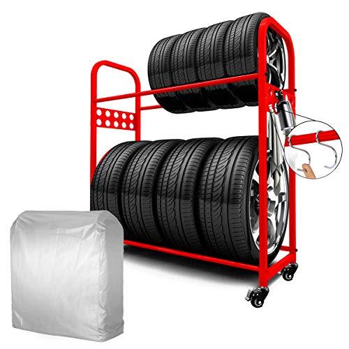 MEICHEPRO タイヤラック タイヤスタンド 2段式タイヤラック 8本タイヤ収納 耐荷重200kg (タイヤラック(レッド)+カバー+キャスター)