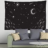 Tapiz de mandala de luna en blanco y negro decoración de estilo...
