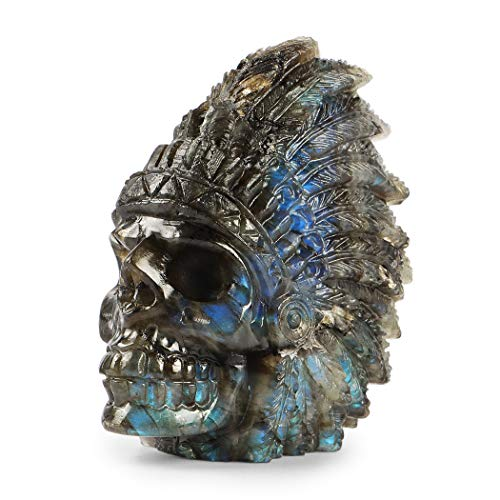 SMQ 2.5' Crystal Indian Head Skull Statue Hand Carved Labradorite Realistic Collectable Figurine for Office,Room Decor,Stand Artwork Decor Sculpture Figure Head Statue Home Decoration (Gift Box)