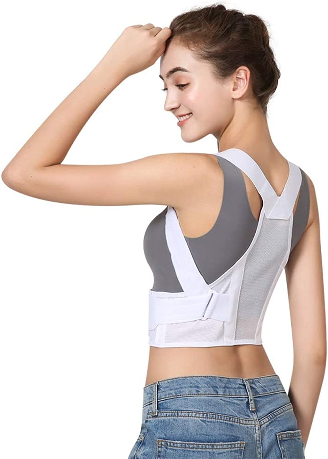 Nosterappou Correction belt, correct male and female adult strap open shoulder corrector, antibreasted back corrective clothing, open shoulder chest, cross solid, waist support, closefitting breatha