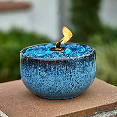 Teal Blue Table Top Fire Bowl, Ventless Outdoor Portable Bio Ethanol Fire Pit, Modern Round Table Fireplace - Fuel Sold Separately (Teal Bowl)