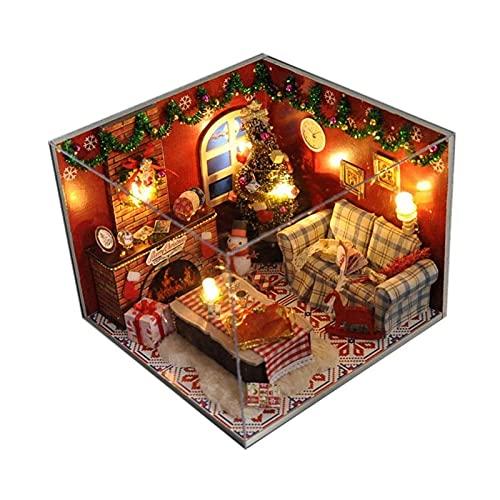 USMEI Casa de Navidad Miniatura, Bricolaje Habitación Creativa con Muebles, más a Prueba de Polvo, Kit de la casa de muñecas for Construir for Adultos, niñas, Día de San Valentín, Idea de Regalo
