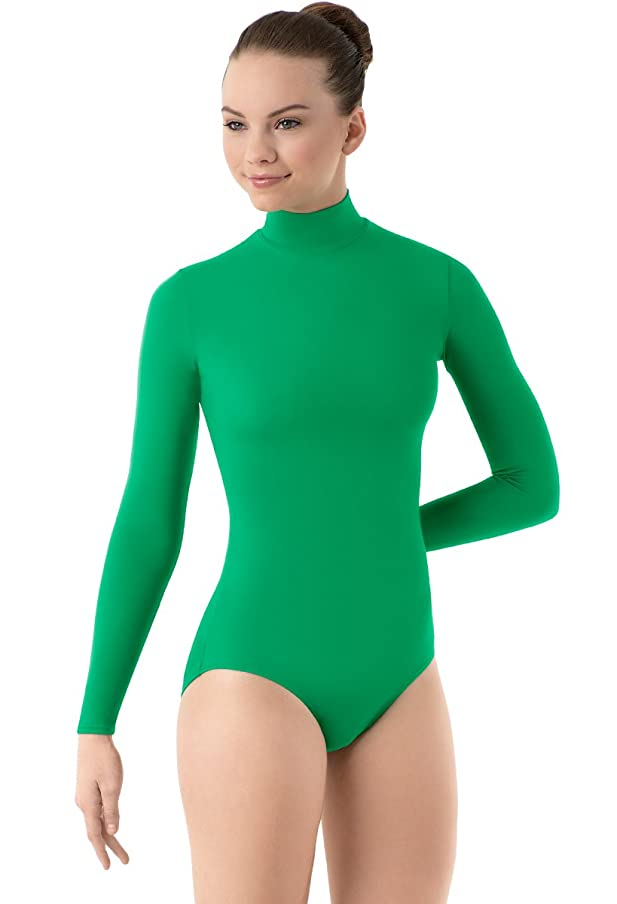 Balera Leotard Girls One Piece Bodysuit For Dance Long Sleeve Mock Neck Turtleneck Spandex Kelly Adult Large