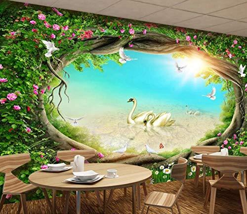 3D vliesbehang fotobehang abstract behang droom sprookjes bos tuin bloemen rotan gras tv achtergrond muur decoratie 3D wallpaper 300*210 300 x 210 cm.