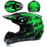 Amacigana® Motocross Helme Downhill Helme Motorrad Crosshelme & Endurohelme Jugend Kinder Offroad Helm Motocross Gear Combo Mask Brillenhandschuhe (Style #03, L)