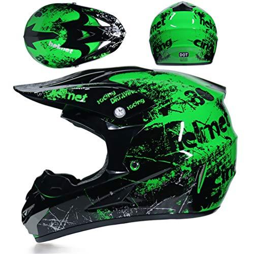 EA-SDN Amacigana® Motocross Helm, Kind Off Road Helm mit Handschuhe Maske Brille, Unisex Motorradhelm Cross Helme Schutzhelm ATV Helm für Männer Damen Sicherheit Schutz (S)