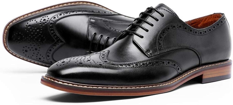 Leather Men's shoes Business shoes Brock Retro Gentleman shoes (color   Black, Size   42)