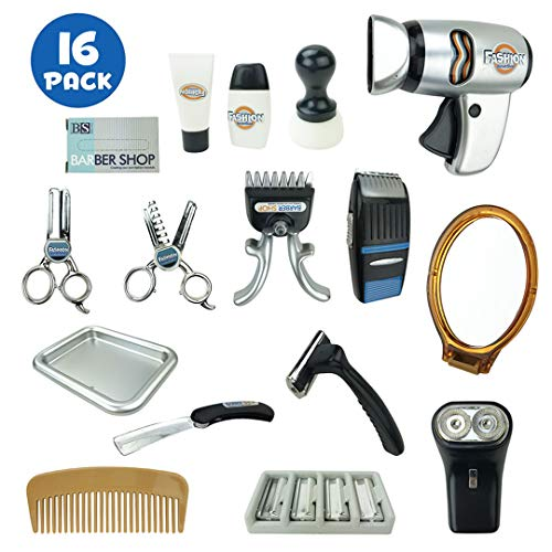 Liberty Imports My First Shaving and Grooming Pretend Play Kit - Kids Barber Playset for Boys with Hair Trimmers, Dryer, Razors and Styling Accessories
