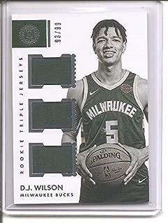 D. J. Wilson Milwaukee Bucks 2017-18 Panini Encased Triple Threads Triple Jersey Memorabilia Rookie Basketball Card #93/99