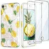 iPod Touch 7th Generation Case with 2 Screen Protectors, IDWELL iPod Touch 6 Case, iPod 5 Case, Slim FIT Anti-Scratch Flexible Soft TPU Bumper Hybrid Shockproof Protective Cover, Yellow Pineapple