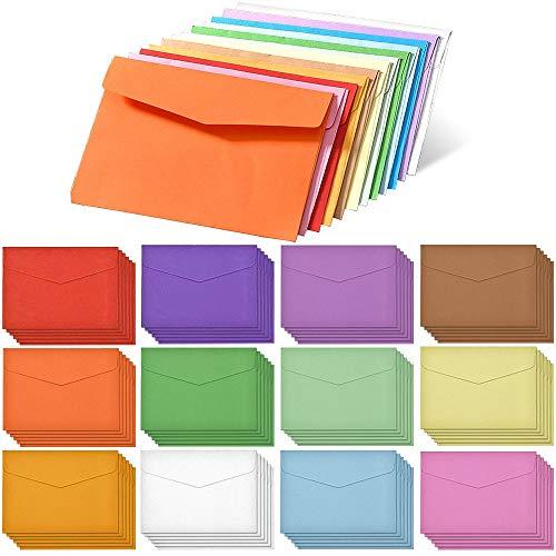 Rayong 60 Stück Mini Umschläge Bunt 11,5 x 8,2 cm Mini Briefumschläge Bunt für Geschenkkarte Hochzeit, Geburtstag Party Supplies, Mini Kuvert