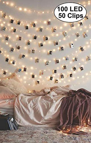 Decute 50 Photo Clips String Lights Holder 100 LED 33FT Starry Fairy Lights for Hanging Pictures Cards Memos USB Powered with Switch Perfect for Bedroom Wedding Dorm Christmas Decor, Warm White