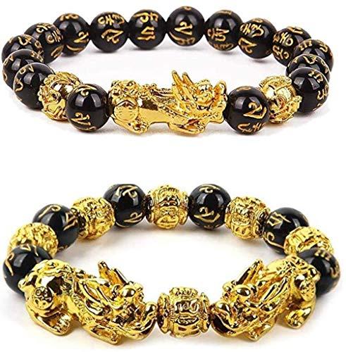 Wsadjkl Lucky Blessing Feng Shui Bead Bracelet Black Obsidian Wealth Bracelet, 2 Pcs Pi Xiu Bracelet Feng Shui Good Luck Bracelets for Women Men Attract Wealth Money Feng Shui Jewelry Amulet Bead Br