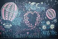 ZPCバレンタインs日ロマンチックな黒板絵画ビニール写真背景パーティーバナー結婚式のカップル恋人肖像写真撮影スタジオ小道具7X5FT