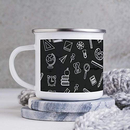 Taza de esmalte de 10 oz para acampar, taza de café esmaltada para acampar, taza de café esmaltada para exteriores, libros en blanco y negro y reloj en pizarra, vasos con asa, para uso doméstico / ofi
