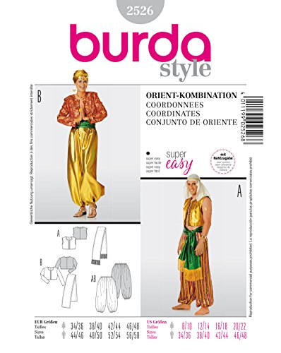 Burda 2526 Schnittmuster Kostüm Fasching Karneval Orient (Damen, Gr. 44-58) – Level 1 super Easy