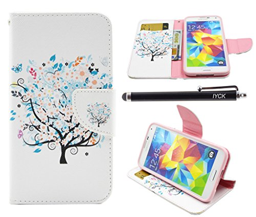 S5 Case, Galaxy S5 Case, iYCK Premium PU Leather Flip Folio Carrying Magnetic Closure Protective Shell Wallet Case Cover for Samsung Galaxy S5 with Kickstand Stand - Butterfly Floral Tree