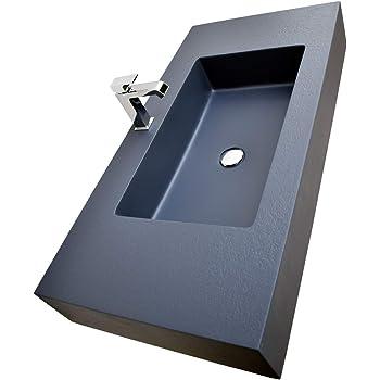 Lavabo da appoggio in solid surface PB2013-80 x 40 x 14,5 cm bianco opaco