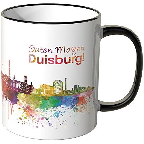 WANDKINGS® Tasse, Schriftzug Guten Morgen Duisburg! mit Skyline - SCHWARZ