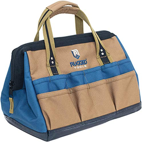 Rugged Tools Field 14quot WideMouth Tool Bag  Soft Sided Canvas Tool Bag For Plumbers Electricians Carpenters and Handymen