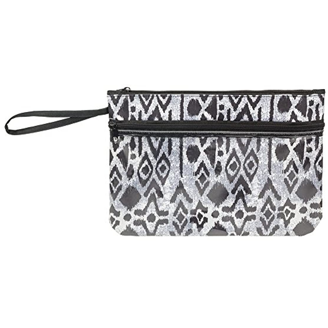 Zipper Pouch Bag with See-Thru Front Zippered Pouch (Black & White)