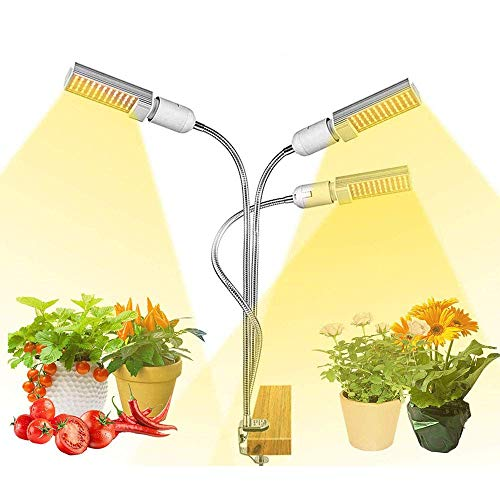 LED Plant Growing Lamps, 65W Indoor Plant Grow Lights Full Spectrum, Auto Plant Power On/Off Grow Light 3/6 / 12h Timing Function, Clip on Grow Light Lamp for Seed Starting Fat Plants