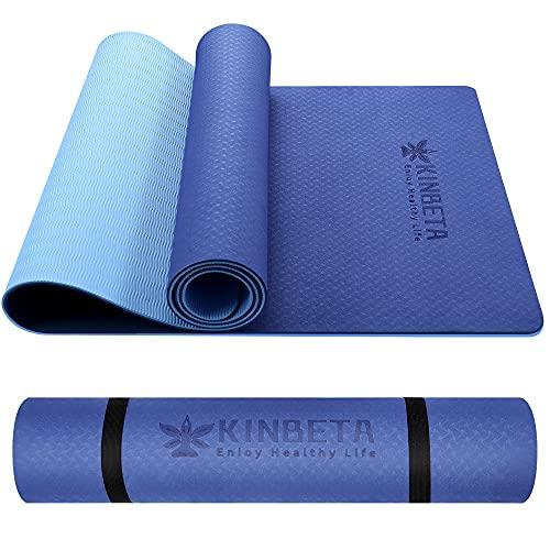 Yogamatte rutschfest,TPE Trainingsmatte rutschfest und Fitnessmatte+Trageband + Tasche, Gymnastikmatte (183 x 61 x 0,6 cm)
