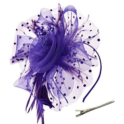 DRESHOW Fascinator Chapeau Plume Mariage Dames Day Bandeau et Clip Cocktail Tea Party Chapeau pour Fille et Femmes,Taille unique,Violet-Purple