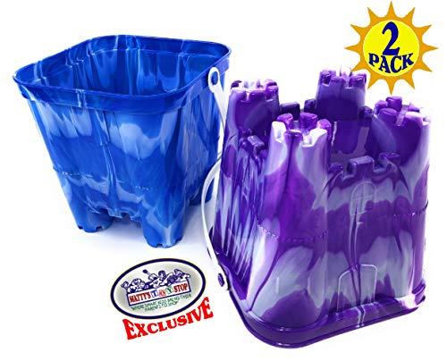 Matty's Toy Stop Beach Gear 7' Plastic Castle Mold Sand Buckets (Pails) Blue Swirl & Purple Swirl Party Set Bundle - 2 Pack