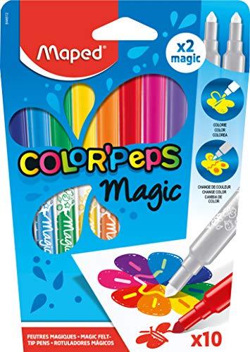 Maped ColorPeps Feutres pour Coloriage Magiques pour Enfant - Encre qui Change de Couleur – 10 Feutres Assortis dont 2 magiques