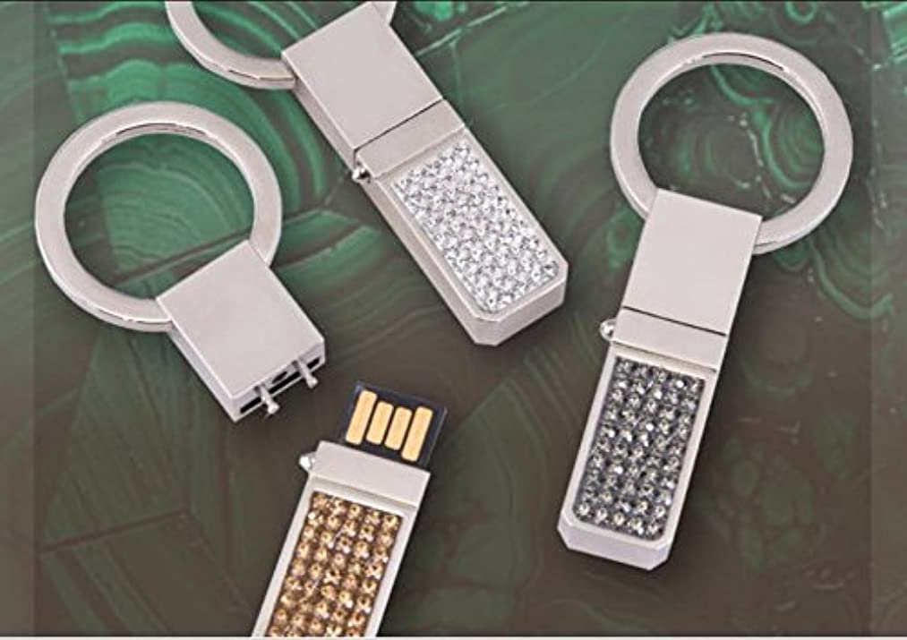 CubicGems by Doer 1PC 8GB Silver Crystal Heart Shape Diamond USB Flash Drive Key Chain