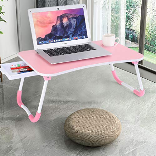 Bedside Table Mobile Medical Overbed Table, Home Office Portable Foldable Study Reading Writing Table Bed Laptop Desk, Student Small Desktop Computer Laptop Desk with Storage (Pink)