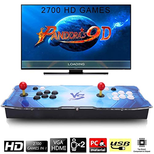 SeeKool Pandoras 9D Classic Games 2700 in 1 Multiplayer Arcade Game Console 4 Joystick Parts HDMI and VGA Power Supply and USB Output