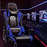 CRYfog Gaming Chair, PC Gaming Computer Chair Office Gamer Chair with Lumbar Support Black White Ergonomic Backrest and Seat Height Adjustment Swivel Chair (Blue)