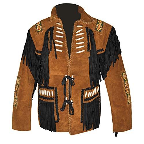 HLS Men's Chaqueta de Cuero de Vaquero con Flecos y Gamuza Occidental D4 ES - Camello marrón V3 - XS