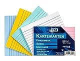 TSI - Tarjetas de cartulina (DIN A7, 100 unidades, a rayas), colores surtidos