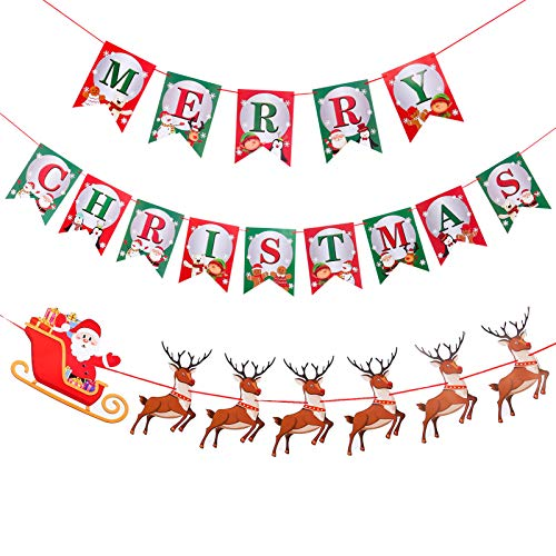 fidget pencil Merry Christmas Banners and Santa Reindeers Bunting Garlands Set, Christmas Paper Banners Flags for Party Decorations, Christmas Party Favor Supplies