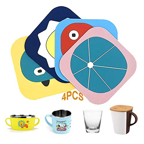 YSTJKA Sottobicchieri in PVC Animali Tappetino per Tazza di Cartone Animato Sottobicchiere Domestico per Bambini Sottobicchieri Spessi Sottobicchieri per Bevande Fredde Bevande Calde 4 PCS