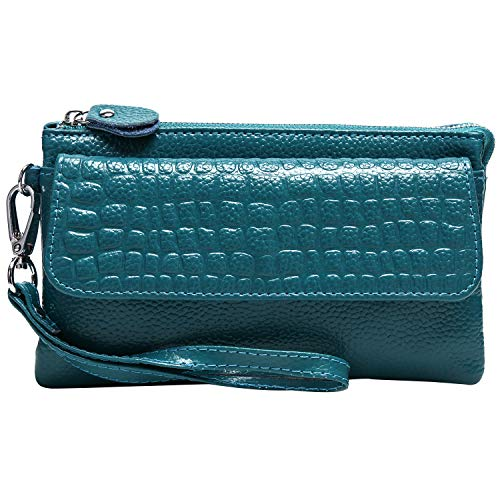 Women Soft Genuine Leather Smartphone Wristlet Purse Cell Phone Cross Body Bag Wallet Clutch Handbag with Card Slots/Shoulder Strap/Wrist Strap - for iPhone 6s Plus (Lake Blue)