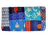 Indian-Shoppers Kantha - Manta bordada de color azul bohemio, tamaño queen, colcha hippie, tamaño queen, colcha acolchada, hecha a mano Kantha Quilts
